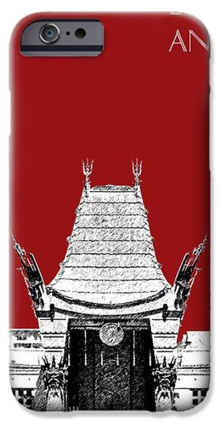 Los Angeles Skyline Graumans Chinese Theater - Dark Red IPhone 6s Case by DB Artist