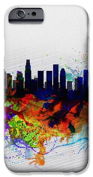 Los Angeles  Watercolor Skyline 2 IPhone 6s Case by Naxart Studio