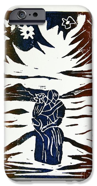 Lovers - Lino Cut A La Gauguin IPhone Case by Christiane Schulze Art And Photography