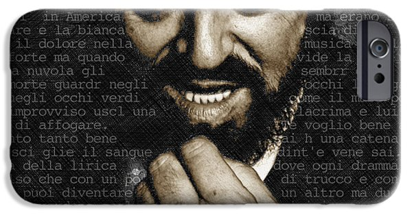 Luciano Pavarotti IPhone Case by Tony Rubino