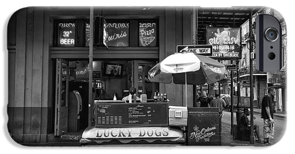 Lucky On Bourbon Street Mono IPhone Case by John Rizzuto