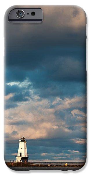 Ludington North Breakwater Lighthouse At Sunrise IPhone Case by Sebastian Musial