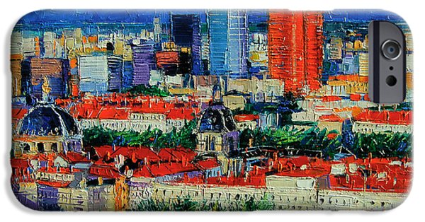 Lyon View From Jardins Des Curiosites  IPhone Case by Mona Edulesco