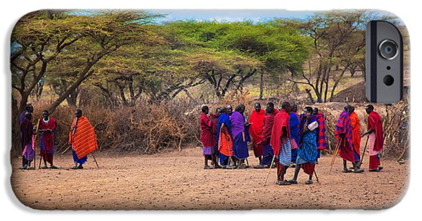 Maasai People And Their Village In Tanzania IPhone Case by Michal Bednarek