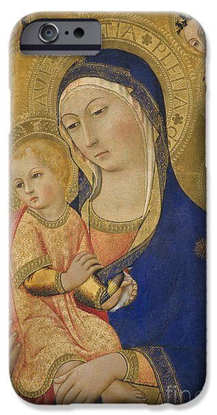 Madonna And Child With Saint Jerome Saint Bernardino And Angels IPhone Case by Sano di Pietro