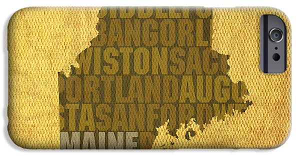 Maine Word Art State Map On Canvas IPhone Case by Design Turnpike