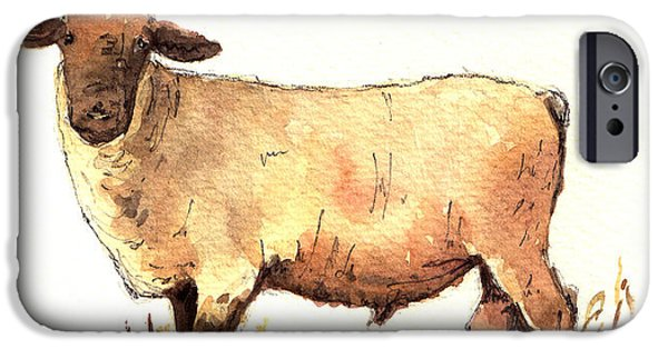 Male Sheep Black IPhone Case by Juan  Bosco