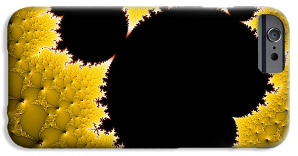 Mandelbrot Set Black And Yellow Fractal Art IPhone Case by Matthias Hauser