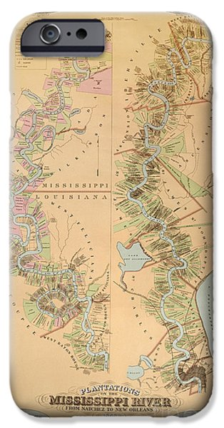 Map Depicting Plantations On The Mississippi River From Natchez To New Orleans IPhone Case by American School