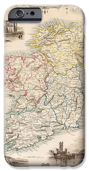 Map Of Ireland From The History Of Ireland By Thomas Wright IPhone Case by English School