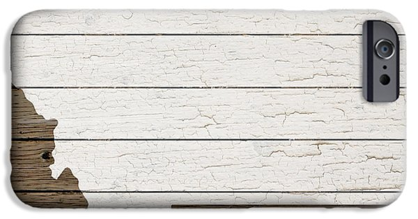 Map Of Montana State Outline White Distressed Paint On Reclaimed Wood Planks IPhone Case by Design Turnpike