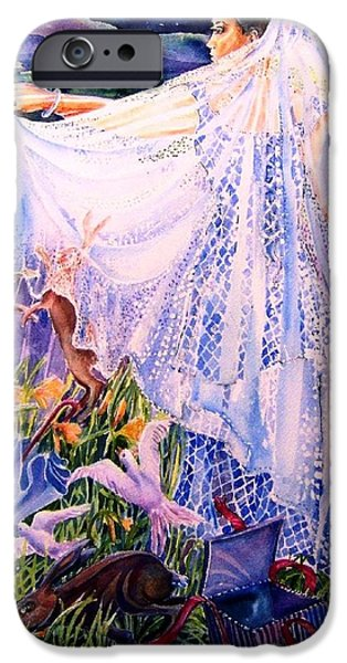 March Bride With Boxing Hares  IPhone Case by Trudi Doyle
