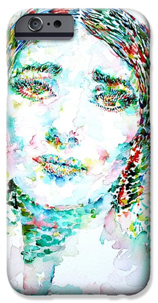 Maria Callas - Watercolor Portrait.1 IPhone Case by Fabrizio Cassetta