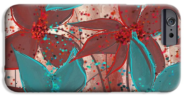 Marsala And Turquoise  IPhone Case by Lourry Legarde