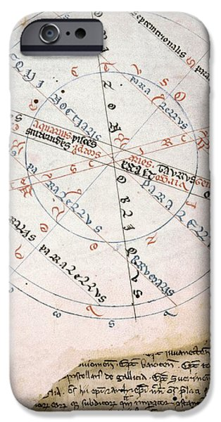 Medieval Diagram Of An Armillary Sphere IPhone Case by Renaissance And Medieval Manuscripts Collection/new York Public Library