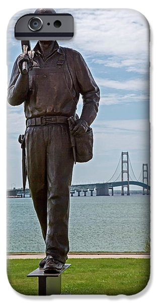 Memorial To Bridge Workers IPhone Case by Jim West