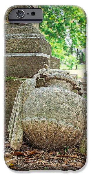 Memphis Elmwood Cemetery Monument - Fallen IPhone Case by Jon Woodhams