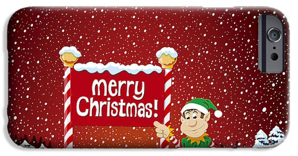 Merry Christmas Sign Christmas Elf Winter Landscape IPhone Case by Frank Ramspott