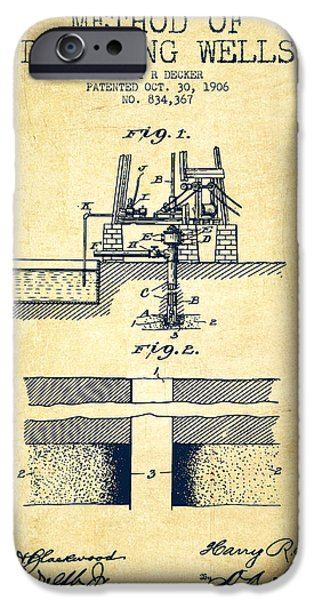 Method Of Drilling Wells Patent From 1906 - Vintage IPhone Case by Aged Pixel