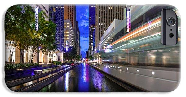 Metrorail Warp Speed On Main Street- Downtown Houston Texas IPhone Case by Silvio Ligutti