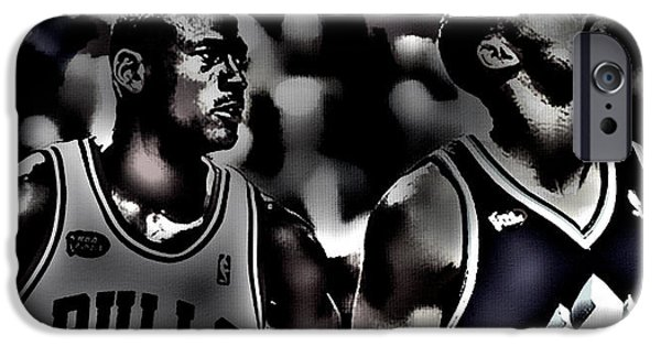Michael Jordan And Carl Malone IPhone Case by Brian Reaves