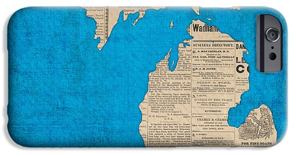 Michigan Map Made Of Vintage Newspaper Clippings On Blue Canvas IPhone Case by Design Turnpike