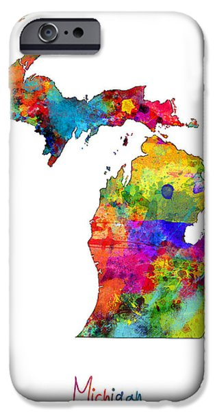 Michigan Map IPhone Case by Michael Tompsett