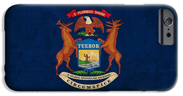 Michigan State Flag Art On Worn Canvas IPhone 6s Case by Design Turnpike