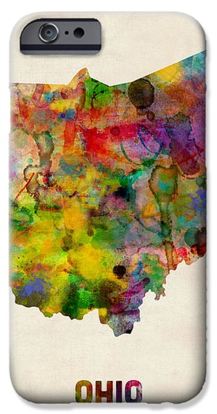 Ohio Watercolor Map IPhone Case by Michael Tompsett