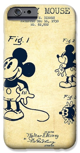 Mickey Mouse Patent Drawing From 1930 - Vintage IPhone 6s Case by Aged Pixel