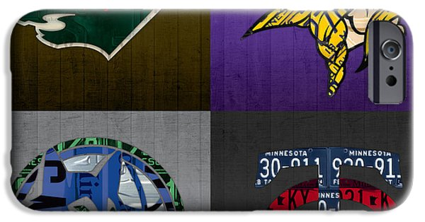 Minneapolis Sports Fan Recycled Vintage Minnesota License Plate Art Wild Vikings Timberwolves Twins IPhone Case by Design Turnpike