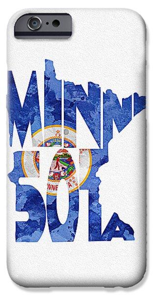 Minnesota Typographic Map Flag IPhone 6s Case by Ayse Deniz
