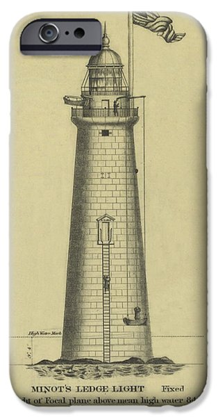 Minot's Ledge Lighthouse IPhone Case by Jerry McElroy - Public Domain Image