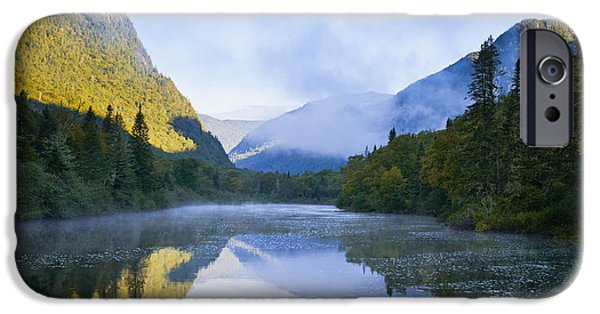 Mist On Jacques-cartier River At Dawn IPhone Case by Yves Marcoux