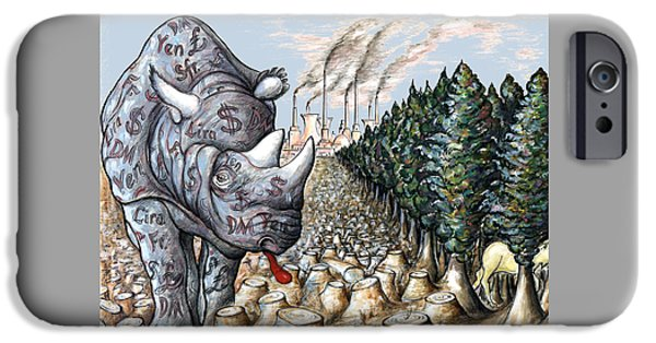 Money Against Nature - Cartoon Art IPhone 6s Case by Art America Online Gallery