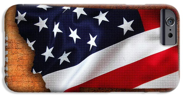 Montana American Flag State Map IPhone Case by Marvin Blaine