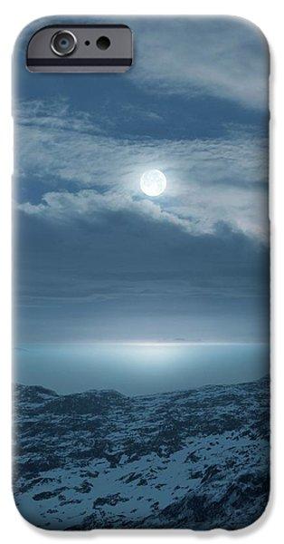 Moon Over Frozen Landscape IPhone Case by Detlev Van Ravenswaay