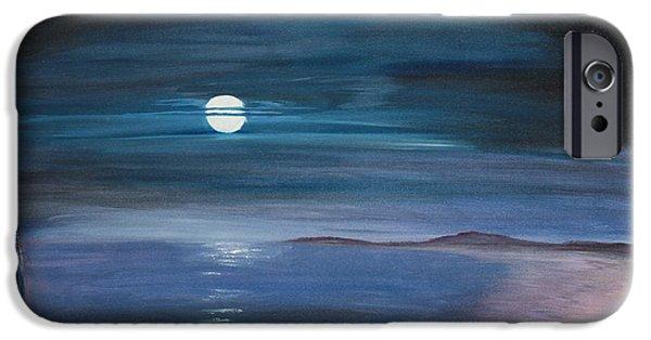 Moon Over Quiet Ocean IPhone Case by Jayne Schelden