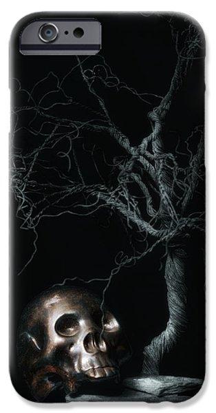 Moonlit Skull And Tree Still Life IPhone Case by Tom Mc Nemar