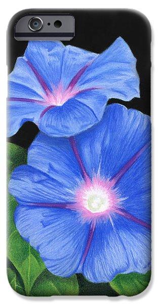 Morning Glories On Black IPhone Case by Sarah Batalka