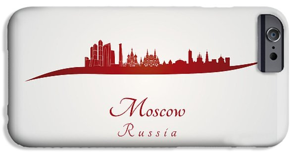 Moscow Skyline In Red IPhone 6s Case by Pablo Romero
