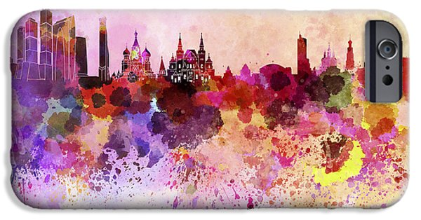 Moscow Skyline In Watercolor Background IPhone 6s Case by Pablo Romero