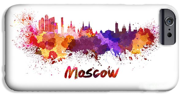 Moscow Skyline In Watercolor IPhone 6s Case by Pablo Romero