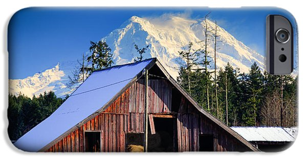 Mount Rainier And Barn IPhone Case by Inge Johnsson