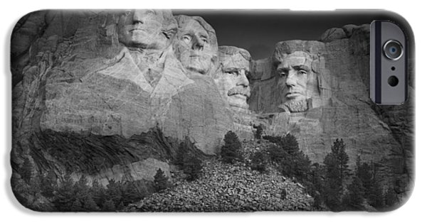 Mount Rushmore South Dakota Dawn  B W IPhone Case by Steve Gadomski