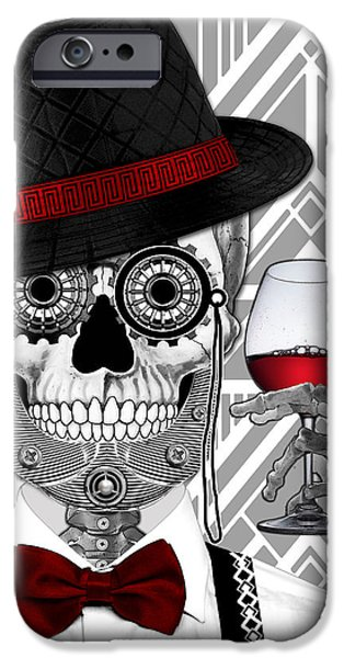 Mr. J.d. Vanderbone - Day Of The Dead 1920's Sugar Skull - Copyrighted IPhone Case by Christopher Beikmann