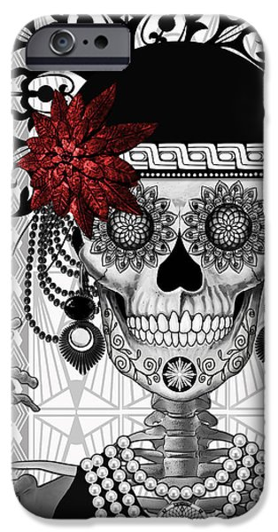 Mrs. Gloria Vanderbone - Day Of The Dead 1920's Flapper Girl Sugar Skull - Copyrighted IPhone Case by Christopher Beikmann