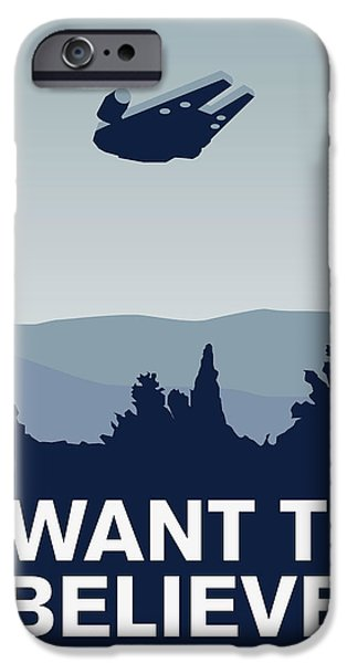 My I Want To Believe Minimal Poster-millennium Falcon IPhone Case by Chungkong Art