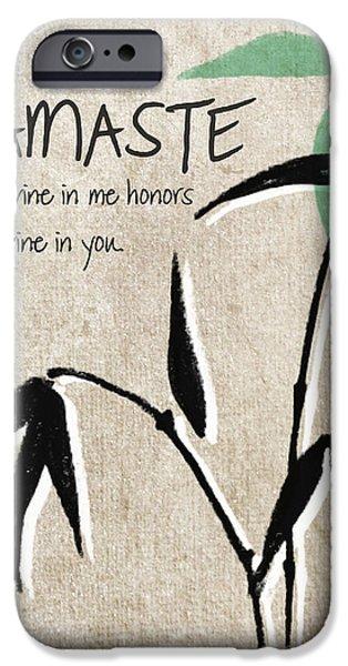 Namaste Greeting Card IPhone Case by Linda Woods