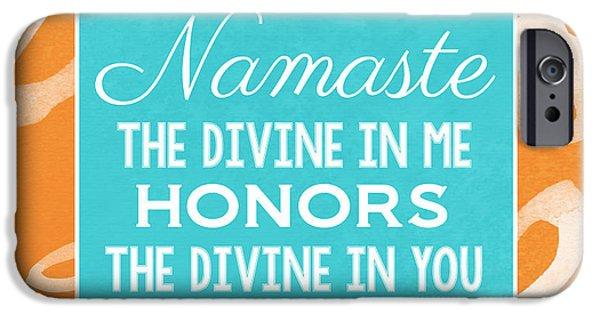 Namaste Watercolor Flowers IPhone Case by Linda Woods